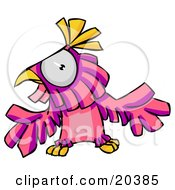 Poster, Art Print Of Confused Pink And Purple Parrot Holding His Wings Out