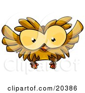 Clipart Illustration Of A Cute Big Eyed Brown Owl Flying by Tonis Pan