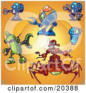 Collection Of Blue Green And Red Robots Over An Orange Background With A Bright Center