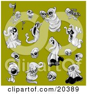 Clipart Illustration Of A Collection Of Scary And Evil Halloween Ghosts Skeletons And Skulls On A Green Background