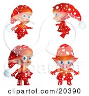 Cute Christmas Elf In Red Clothes With White Polka Dots In Four Different Poses