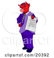 Clipart Illustration Of A Devil Boss Man In A Purple Suit Holding Out A Contract For An Employee To Sign Away Their Soul by Tonis Pan