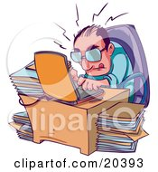 Clipart Illustration Of A Stressed And Overwhelmed Businessman Typing Away On His Laptop At His Desk Surrounded By Stacks Of Files