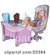 Relaxed Businessman Leaning Back In His Chair With His Feet Up By His Laptop Computer On His Desk Holding A Cup Of Hot Coffee And Chatting On The Phone by Tonis Pan