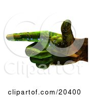 Clipart Illustration Of A Green Robotic Hand With A Circuit Patterh Pointing To The Left Over A White Background by Tonis Pan