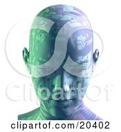 Clipart Illustration Of A Robots Head With Circuit Board Patterns Facing Front Symbolizing Advances In Technology And Intelligence