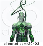 Strong Male Robot With Cables Connected To His Head Standing Against A White Background