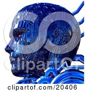 Of A Tough Blue Robots Head With Circuit Patterns And Red Eyes Facing To The Left In Profile Over White