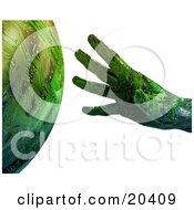 Green Hand With Circuits Reaching To Touch A Planet Symbolizing Ecology And Creation