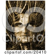 Poster, Art Print Of Cyborg Robotic Face With Bold Eyes And Cables Springing From The Head