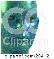 Poster, Art Print Of Closeup Of A Green Motherboard Robot Face With Circuits And Blank Eyes