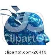 Poster, Art Print Of Blue Robotic Head With Rippled Circuit Patterns And Usb Cables Plugging Into The Brain Symbolizing Artifical Intelligence And Memory