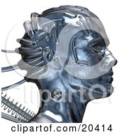 Poster, Art Print Of Chrome Robot Head With A Circuit Pattern And Springs Facing To The Right Over A White Background