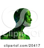 Poster, Art Print Of Green Computerized Robot With Circuits As Seen From The Shoulders Up