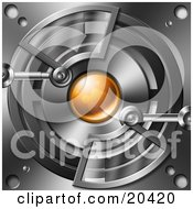 Clipart Illustration Of A Mecha Optic Devis With An Orange Circle Surrounded By Chrome