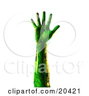 Green Humanlike Cyborg Hand With Circuits Stretched Out Fingers Extended Over A White Background