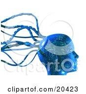 Digital Blue Robot Head With Circuit Board Patterns And Cable Tentacles Over A White Background