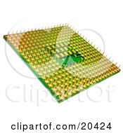 Clipart Illustration Of A Green And Yellow Central Processing Unit Processor Chip On A White Background