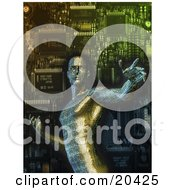 Clipart Illustration Of A Robotic Circuit Board Man In Front Of A Computer Processor