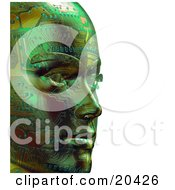 Clipart Illustration Of A Green Robots Face With Circuits Facing To The Right Over A White Background by Tonis Pan