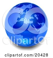 Blue Glass Planet Earth Marble Over A White Background by Tonis Pan
