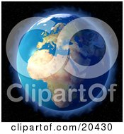 Clipart Illustration Of Planet Earth Surrounded By A Glowing Halo Of Light Or Aura Against The Spotted Starry Background Of Space by Tonis Pan