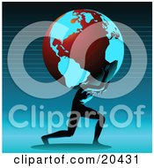 Clipart Illustration Of A Strong Man Carrying The Heavy Globe On His Shoulders Symbolizing Support And Environment