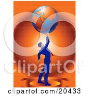 Poster, Art Print Of Businessman In A Blue Suit And Red Tie Standing Against An Orange Background And Holding The Planet Earth High Above His Head Symbolizing Success