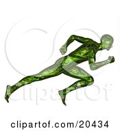 Clipart Illustration Of A Racing Green 3d Man Sprinting During A Race Over A White Background
