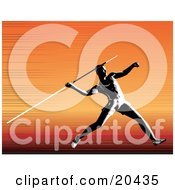Clipart Illustration Of A Strong Man Running And Preparing To Throw A Javelin Over An Orange Background by Tonis Pan