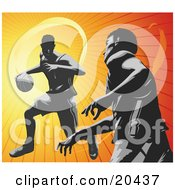 Clipart Illustration Of Basketball Opponents During A Game One Player Dribbling The Ball The Other Player Guarding by Tonis Pan