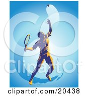 Clipart Illustration Of A Male Tennis Player Tossing A Ball High Into The Air And Preparing To Serve During A Match