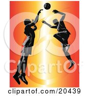 Clipart Illustration Of An Opponent Leaping To Block A Shot Of A Competitor During A Basketball Game