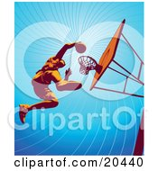 Poster, Art Print Of Basketball Player Jumping High To Dunk The Ball In The Hoop During Practice