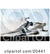 Clipart Illustration Of A Race Between Two Competitive Rival Men Sprinting In A Blur On A Track
