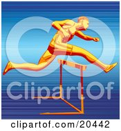 Clipart Illustration Of A Fast Racer Sprinting And Leaping Over A Hurdle On A Track Symbolizing Speed And Endurance by Tonis Pan