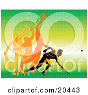 Clipart Illustration Of A Man In Motion Showing The Different Movements To Hit A Tennis Ball During A Match