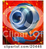 Poster, Art Print Of Blue And Gray Web Camera With A Usb Cable Over A Red And Orange Background