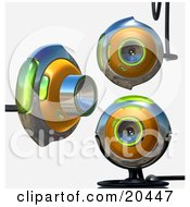 Clipart Illustration Of Three Green And Chrome Web Cams One Viewing To The Right The Other Two Facing Front Over A White Background