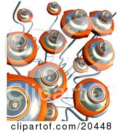 Clipart Illustration Of A Group Of Orange Webcams With Long Cables Pointing Upwards Over A White Background