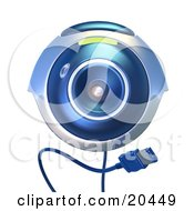 Isolated Blue Computer Webcam With A Usb Cable Facing Front Over A White Background