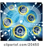 Clipart Illustration Of A Group Of Blue And Yellow Web Cameras Facing Different Directions Over A Blue Background