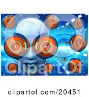 Poster, Art Print Of Womans Face With Webcam Eyes Surrounded By Other Web Cams On A Blue Futuristic Background