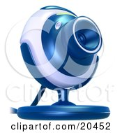 Blue And Gray Web Camera Pointinted Slightly Upwards Over A White Background