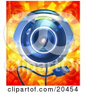 Poster, Art Print Of Blue Computer Webcam With A Usb Cable Facing Front Over A Red And Orange Background