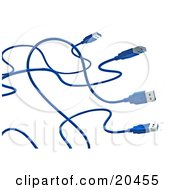 Clipart Illustration Of Four Blue USB Cables With Curving Cords Over A White Background