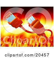 Clipart Illustration Of An Orange Computer Hardware Firewire Cable Over A Feiry Background With Binary Code by Tonis Pan