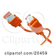 Clipart Illustration Of Orange Electronic Computer Hardware Fire Wire Cables Over A White Background