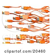 Clipart Illustration Of A Background Of Orange Electronic Computer Hardware FireWire Cables Over A White Background