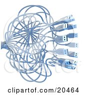 Clipart Illustration Of A Swarm Of Tangled USB Cables Over A White Background
